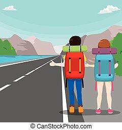 旅行, 恋人, ヒッチハイクをする