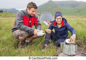 旅行, 恋人, 料理, キャンプ, 外
