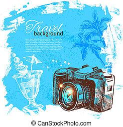 旅行, 插圖, 假期, 略述, 背景。, 手, 畫
