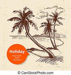 旅行, 插圖, 假期, 略述, 背景。, 葡萄酒, 手, 畫