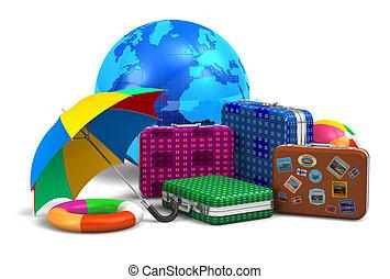 旅行, 旅遊業, 以及, vcation, 概念
