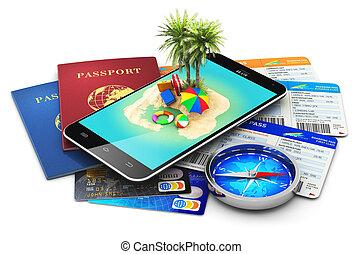 旅行, 旅遊業, 假期, 以及, 假期, 概念