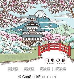 旅行, 日本, 有吸引力, 海报