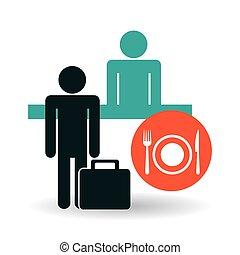 旅行, 服务, icon., 旅馆, 概念, design.