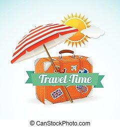 旅行, 概念, 旗幟, card., 矢量