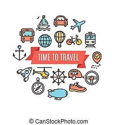 旅行, 概念, card., 矢量