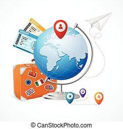 旅行, 概念, globe., 矢量
