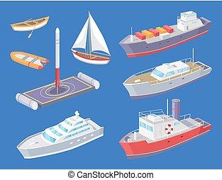 旅行, 水, ベクトル, 旅行, 容器, 輸送