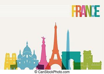旅行, 法國, 目的地, 界標, 地平線, 插圖
