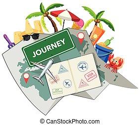 旅行, 浜, オブジェクト, 時間
