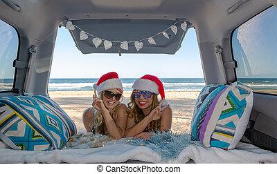 旅行, 浜, 女の子, 夏, 祝いなさい, クリスマス, 2