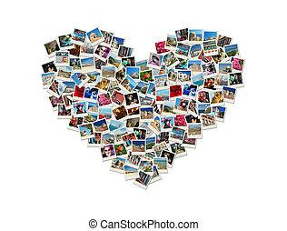 旅行, 激情, -, 心成形, 拼贴艺术, 做, 在中, 世界, 照片