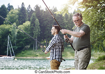 旅行, 父, 釣り, 息子