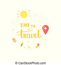 旅行, 矢量, lettering., 作品, 時間, 手寫, illustration.