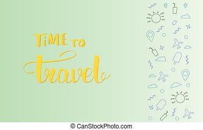 旅行, 矢量, lettering., 時間, 手寫, 旗幟, illustration.