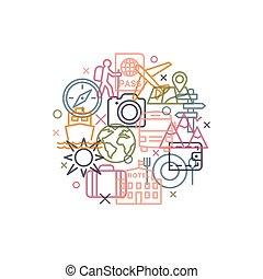 旅行, 線である, サイン, 概念, スタイル, アイコン, 最新流行である