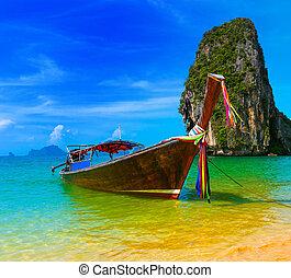 旅行, 自然, 伝統的である, 浜リゾート, ボート, タイ, パラダイス, 美しい, 木製である, 島, 空, 夏, トロピカル, 青, 景色, 風景, 水