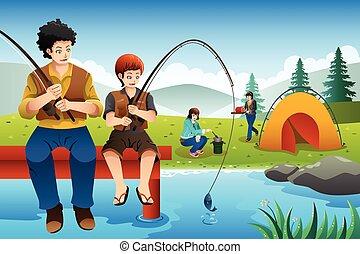 旅行, 行く, 家族のキャンプ, 釣り