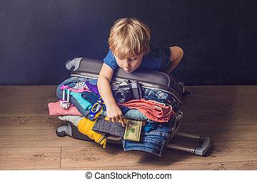 旅行, 衣服, パックされた, 男の子の 子供, 赤ん坊, suitcase., 子供, フルである, 家族, 手荷物, 休暇旅行