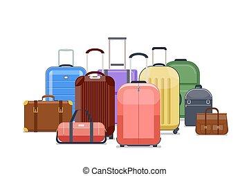 旅行, 袋子, 以及, 行李, 顏色, 矢量