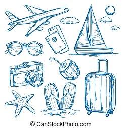 旅行, 要素, セット, スケッチ