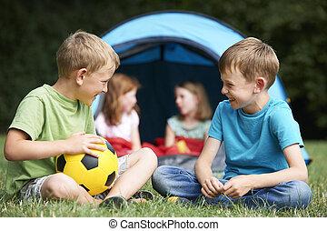 旅行, 話し, 2, キャンプ, 男の子