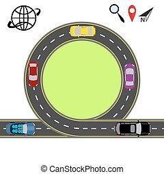 旅行, 通過, navigation., 摘要, 高速公路, road., 運輸, 插圖