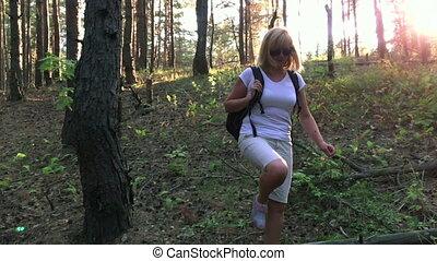 旅行, 遅い, woods., 動き, によって, 彼女