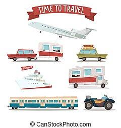 旅行, 運輸, set., 露營者, 以及, 汽車。, 訓練, 以及, plane., atv, motorcycle., 乘客, ship., 矢量, 插圖