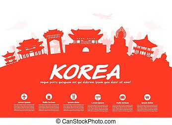 旅行, 韓国, landmarks.