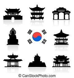 旅行, 韓国, set., アイコン
