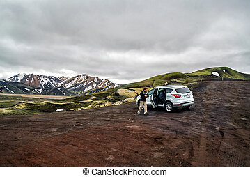 旅行, 4wd, アイスランド, landmannalaugar, 道, 自動車, 離れて