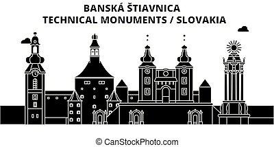 旅行, banska, スカイライン, ベクトル, スロバキア, stiavnica, illustration.