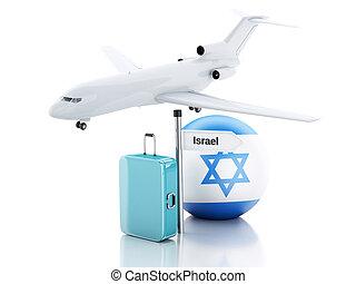 旅行, concept., 小提箱, 飛機, 以及, 以色列旗, icon., 3d, illustr