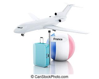 旅行, concept., 小提箱, 飛機, 以及, 法國旗子, icon., 3d, illustr