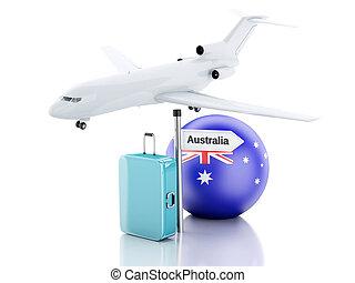 旅行, concept., 小提箱, 飛機, 以及, 澳洲旗子, icon., 3d, illu