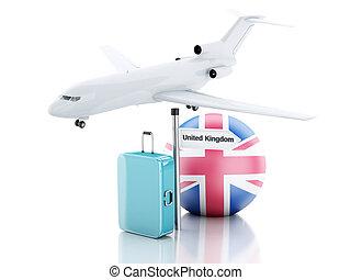 旅行, concept., 小提箱, 飛機, 以及, 英國旗子, icon., 3d