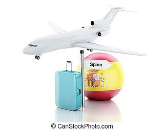 旅行, concept., 小提箱, 飛機, 以及, 西班牙旗, icon., 3d, illustra