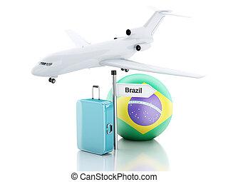 旅行, concept., 小提箱, 飛機, 以及, brazil 旗, icon., 3d, illustr