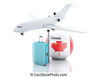 旅行, concept., 小提箱, 飛機, 以及, canada旗, icon., 3d, illustr