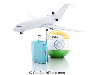 旅行, concept., 小提箱, 飛機, 以及, india 旗, icon., 3d, illustra