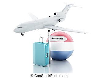 旅行, concept., 小提箱, 飛機, 以及, netherlands旗, icon., 3d, il