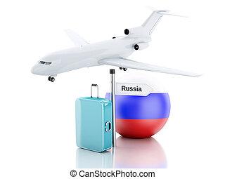 旅行, concept., 小提箱, 飛機, 以及, russia 旗, icon., 3d, illustr