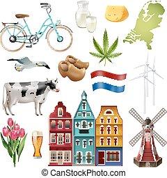 旅行, netherlands, セット, オランダ, アイコン