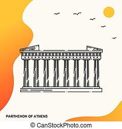 旅行, parthenon, の, アテネ, ポスター, テンプレート
