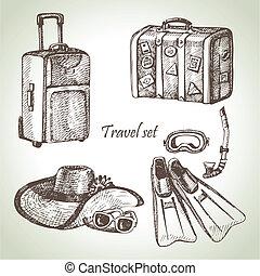 旅行, set., 說明, 手, 畫