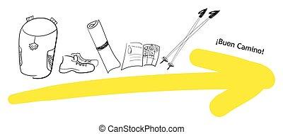 旅行, things., 背包, 圣地亞哥, 黃色, 拉車, 西班牙, 形跡, water., 靴子, 護照, 步行, de, 棍, 香客, 箭, 橫跨, needed, camino, 根, 蓆子, 流行, 古老