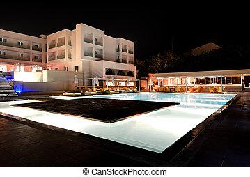 旅館, 酒吧, 島, 希臘, 豪華, 夜晚, crete, 闡明, 池, 游泳