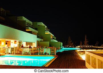 旅館, 餐館, 戶外, 豪華, 希臘, 闡明, crete