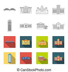 旅馆, 风格, 放置, 图标, 符号, web., 警察, 收集, 位图, outline, 描述, school.building, 摩天楼, 股票
